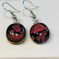 Dichroic glass and Stirling silver earings SALE