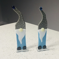 Pair of fused glass gnomes or gonks