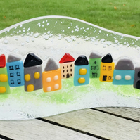 Fused glass stand up house scene
