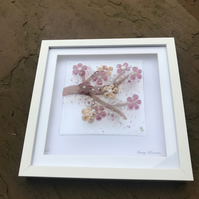 Fuse glass cherry blossom picture