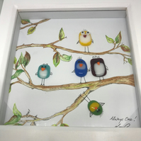 Fused glass birdies on watercolour