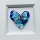 Fused glass cast hearts in a box frame