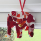 Fused glass cast elephant in reds or blues