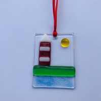 Fused glass smeatons lighthouse hanging decoration
