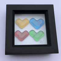 Fused glass rainbow heart boxed frame