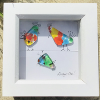 Fused glass fun and quirky birds