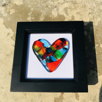Fused glass cast heart in box frame