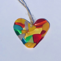 Hanging glass heart