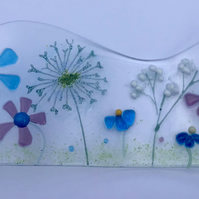 Free standing meadows  fused glass wave ornament