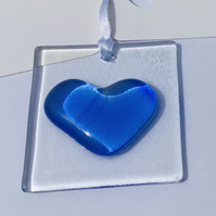 "Fused glass ""thinking of you"" heart with gift tags for your personal message"