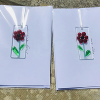 Fused glass poppy love card