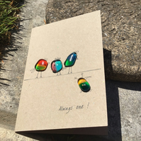 Fused glass pebble cards