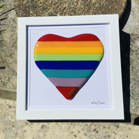 Fused glass rainbow heart in frame
