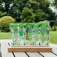 Fused glass silver birch scene panel with candle holders