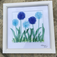 Alliums in fused glass picture