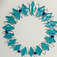Fused glass ice wreath