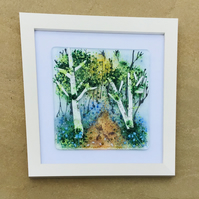 Fused glass bluebell wood picture