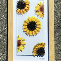 Sunflowers fused glass picture