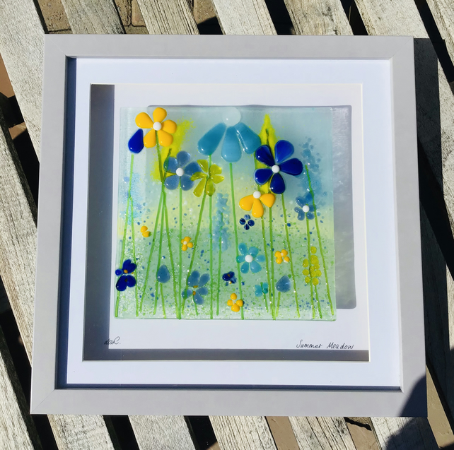 Summer meadow fused glass picture