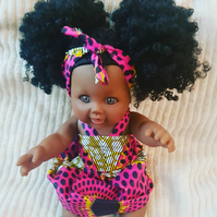 Beautiful black Afro doll in Pink African Print dress and headband
