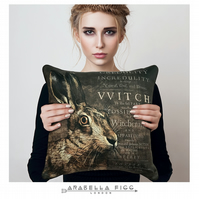 Magical Hare Witchcraft Familiar Nature Spirit Cushion with Free Cushion Pad