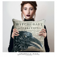 Magical Raven Witchcraft Familiar Nature Spirit Cushion with Free Cushion Pad