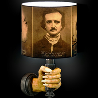 Edgar Allan Poe Spooky Horror Lampshade, Raven Nevermore Gothic Halloween Decor