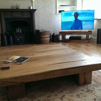 HANDMADE EXTRA LARGE SOLID OAK BEAM COFFEE TABLE