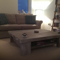 CHUNKY SOLID KILN DRIED WOOD COFFEE TABLE WITH SHELF.
