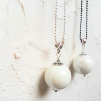 Long minimalist white necklace, Ball chain necklace with large ceramic bead.