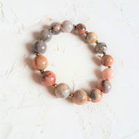 10mm natural crazy lace agate stone bracelet, Simple everyday casual bracelet.