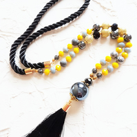 Yellow and black rope tassel necklace, Czech crystal jasper hematite necklace
