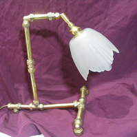 Desk Lamp - Ebornagain from upcycled brass fittings - antique glass shade