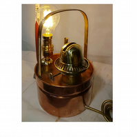 Copper and Brass Table Lamp originally an Antique Greenhouse Oil Heater upcycled