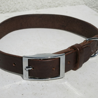 Hand-stitched leather dog collar