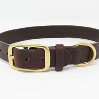 Hand-stitched leather dog collar with brass buckle and D ring