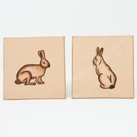 Set of two leather bunny rabbit coasters