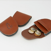 Small brown leather coin purse