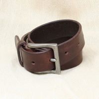 """Brown leather belt; 1.25"""" wide; made from Italian leather; choice of buckle"""