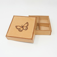 Leather jewellery cufflink or trinket box