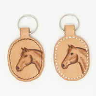 Leather key fob with horse's head motif