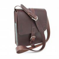 Distressed Italian leather shoulder bag with countryside motifs