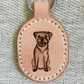 Leather key fob with hand-painted border terrier motif