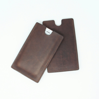 Leather phone sleeve - choice of brown, tan or black; made to fit any phone