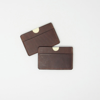Leather credit card holder with three pockets
