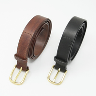 "1"" leather belt; brass buckle; choice of black or brown leather"