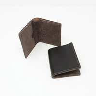 Brown leather slim bifold wallet
