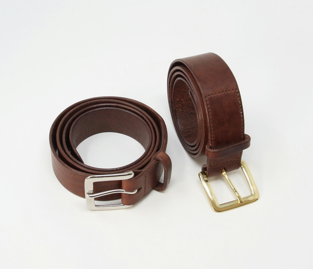 "1.5"" wide brown leather belt; Italian leather; solid brass buckle"