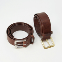 """1.5"""" wide brown leather belt; Italian leather; solid brass buckle"""