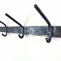 Orford Wrought Iron Coat and Hat Rail with Solid hooks